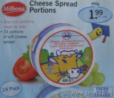 advert for cheese portions cut from supermarket flyer