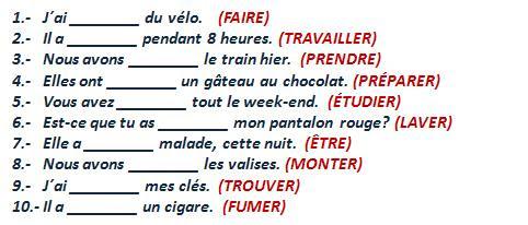 Passé composé - uzupełnij zdania w czasie passé composé 1 - Francuski przy kawie