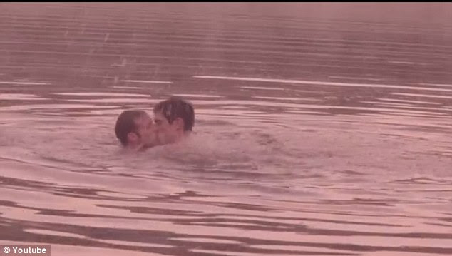 Romantic: Steve Grand pashes his love interest in the video clip for his new song, All-American Boy