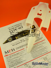 Maqueta de coche 1/12 Model Factory Hiro - Lotus Renault 98T John Player Special Nº 11, 12 - Ayrton Senna, Johnny Dumfries - Gran Premio de España + Norteamérica 1986 - kit multimedia
