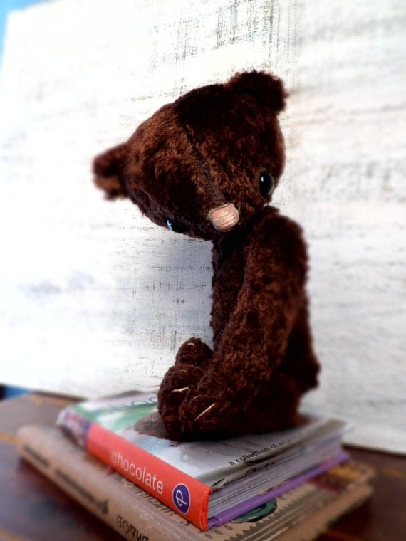 OOAK teddy bear artist bear plush, 10' chocolate brown