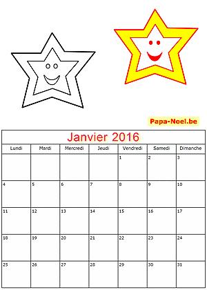 Calendrier janvier 2016 à imprimer gratuitement pour enfants