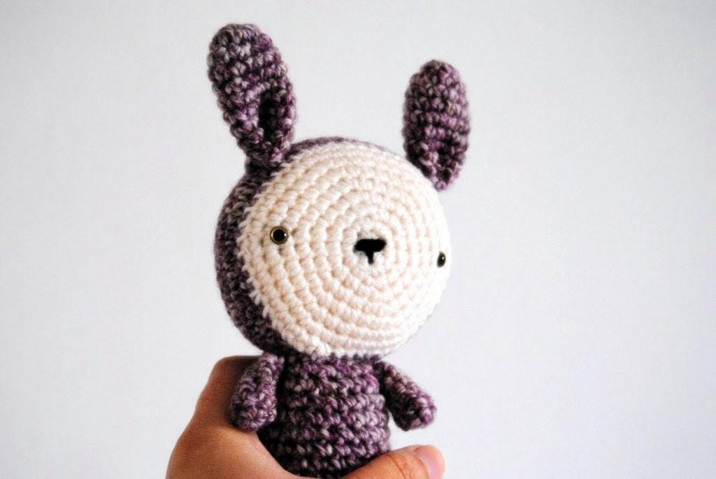 Purple bunny Amigurumi, crocheted toy, ready to ship
