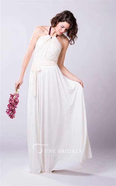 Boho Romantic Chiffon Wedding Dress With Lace Bodice and