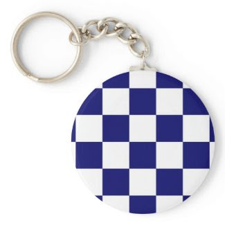 Checkered Navy and White Keychains