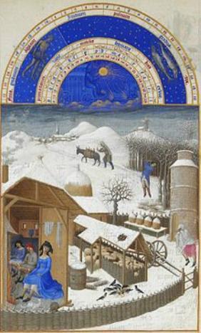 Les tres riches Heures du Duc de Berry Monatsbild Februar Wikipedia