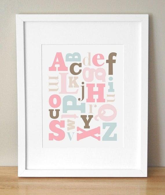 Alphabet Soup - 11 x 14 Alphabet Print - Girl