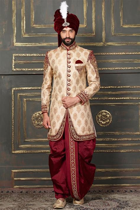 Groom Dhoti Indo Western Sherwani in Cream Color #designer