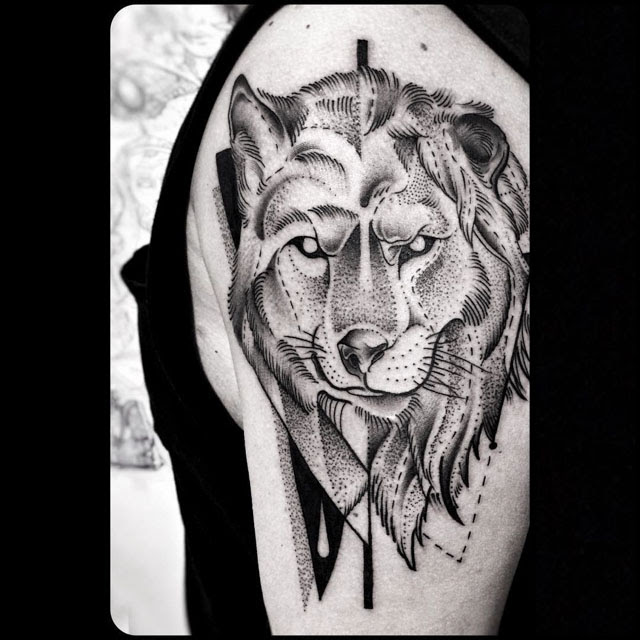 Half Wolf Lion Tattoo Shoulder Best Tattoo Ideas Gallery