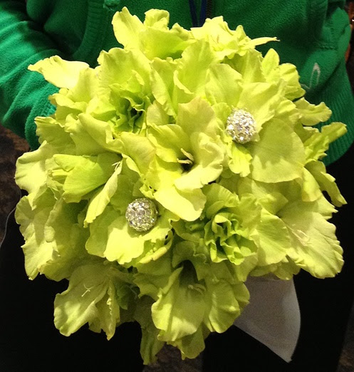 Vibrant green, gladiolus bloom bridal bouquet with crystals.