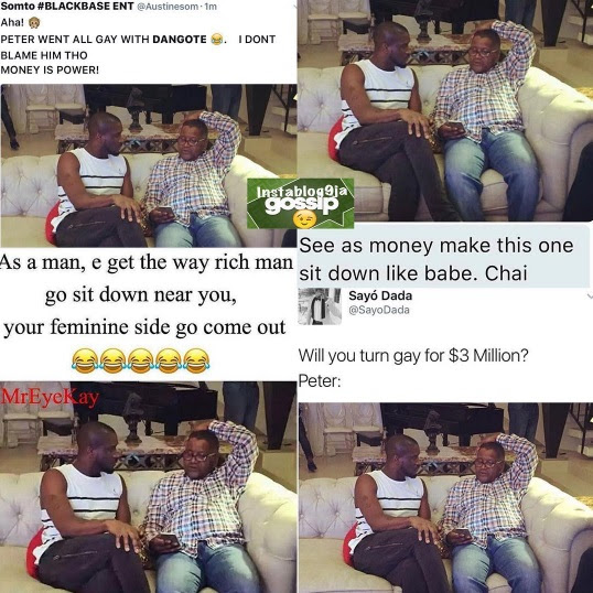 Nigerians sef!!! Look at how they roasted Peter of P Square over the way he sat with Dangote