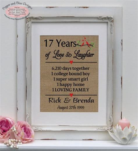 17th wedding anniversary gifts 17 years by
