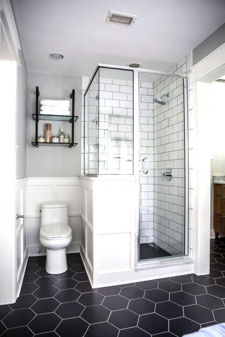 Small Bathroom Black And White Colors With Black Hexagonal ...