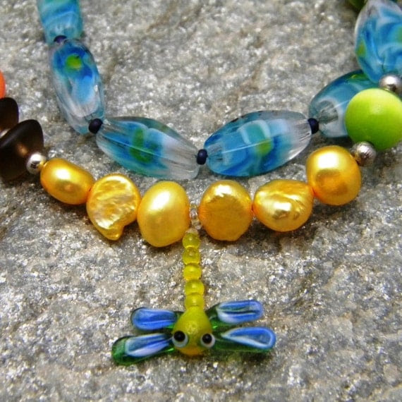 One of a Kind Dragonfly Art Necklace