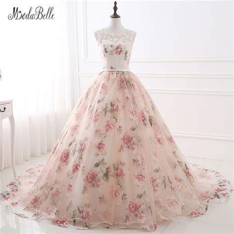Beautiful Flower Print Floral Wedding Dresses Real Photo