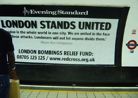 London Stands United Ad in Oxford Circus Tube 2005