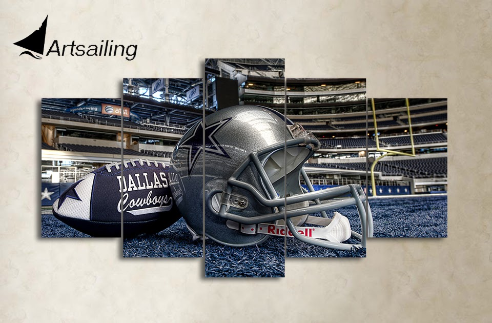 HD Printed 5 Piece Canvas Art Dallas Cowboys Helmet ...