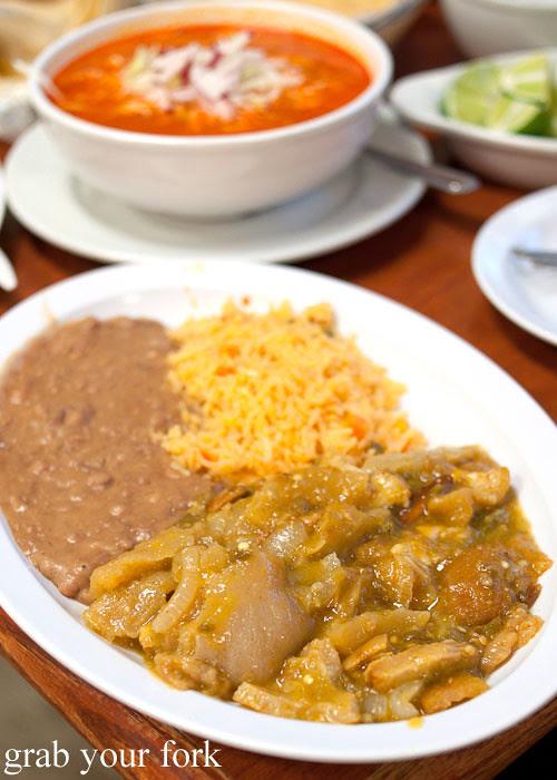 chicharron in salsa verde at tamales lilianas restaurante mexican in east los angeles