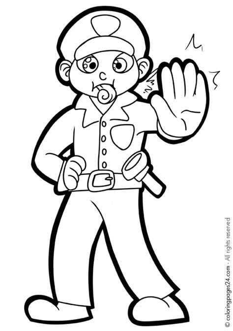 police officer  jobs printable coloring pages