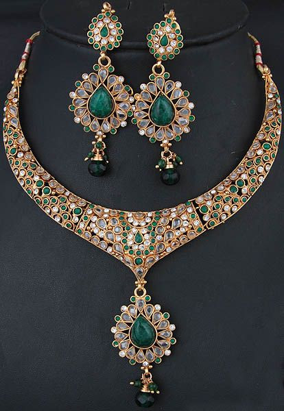 MOB jewlery (mommy) | Green Polki Necklace and Earrings Set with Faux Emerald