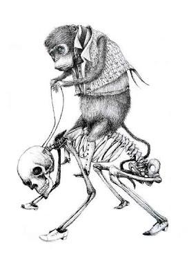 monkey riding human skeleton - comic