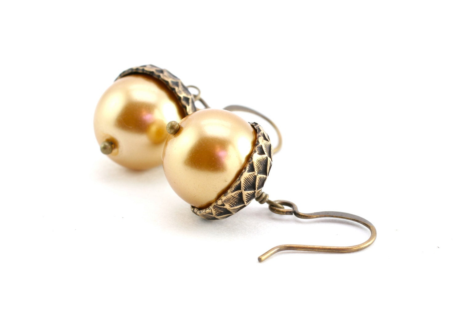Acorn Earrings, Golden Champagne Pearl Earrings, Wedding Earrings