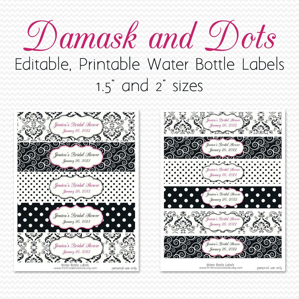 Water Bottle Labels Black and White Yellow by PrintCreateCelebrate