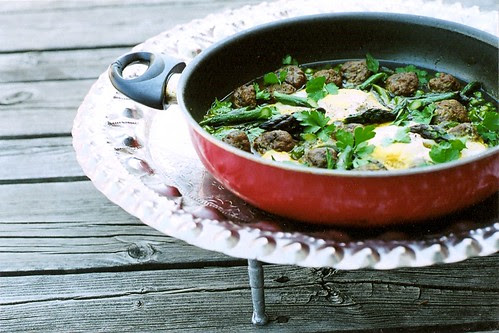 Peas and asparagus Tagine
