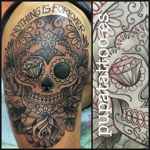 Tatuaje Calavera Y Rosas Pupa Tattoo Granada A Photo On Flickriver
