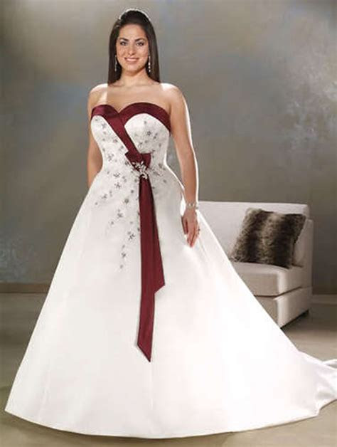 Plus Size White/Ivory&Burgundy/Purple Wedding Dress Bridal