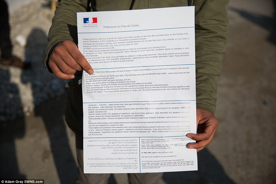 French police have been handing out letters warning migrants about the planned evictions