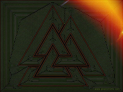 Geometric Art Isolines, the Valknut, Three Interlocked Triangles, Trefoil Knot, Parallel Lines.