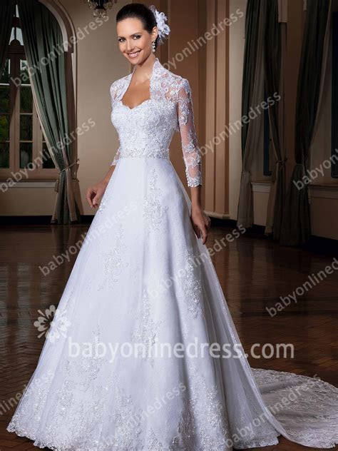 Spring Wedding Dresses High Neck Long Sleeve Lace