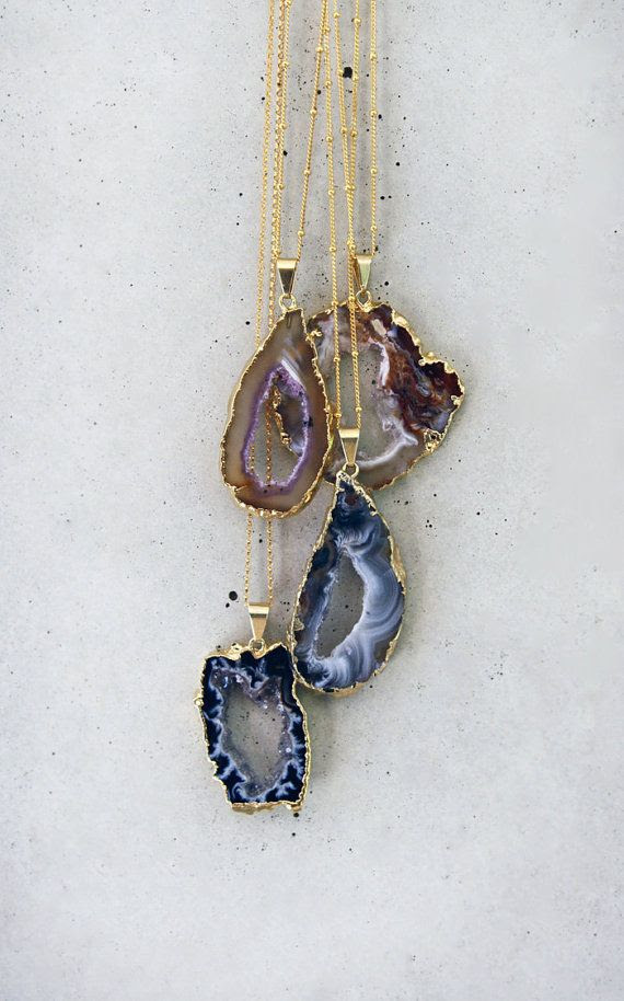 Sparkling Agate Geode Drusy Necklace by keijewelry on Etsy
