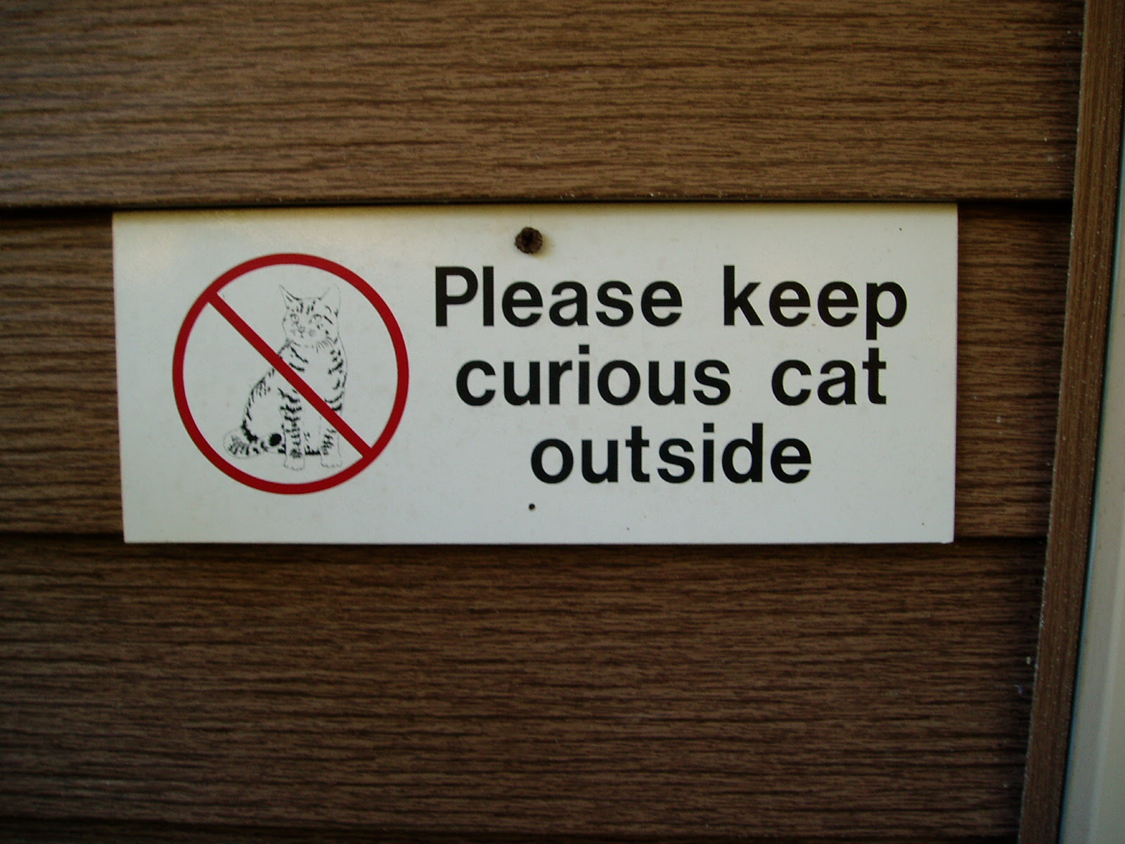 Please keep curious cat outside