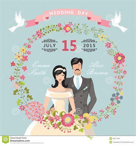 Cute Wedding Invitation.Floral Wreath,cartoon Bride,groom