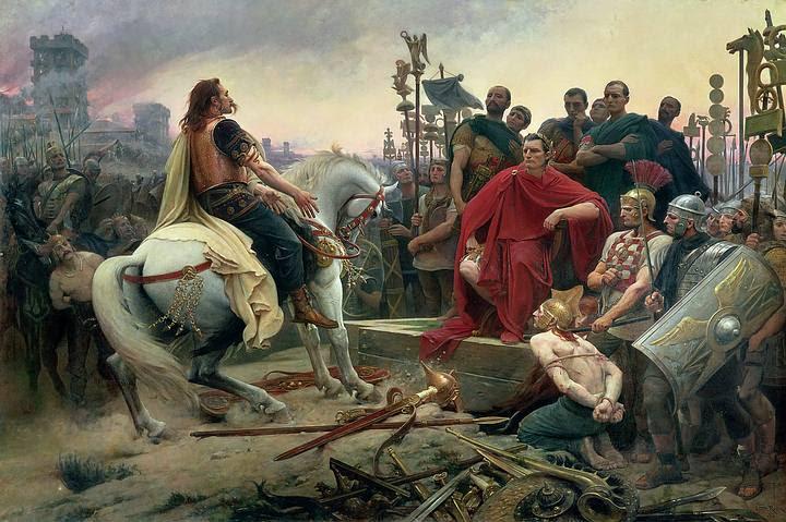 Vercingétorix arroja sus armas a los pies de Julio César, por Lionel Noel Royer (1899).