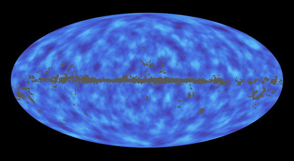 This full-sky map from the Planck mission shows matter between Earth and the edge of the observable universe. Each sky map of the universe can reveal different information about the same area. Image released March 21, 2013.