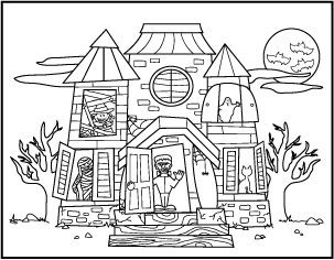 free printable halloween coloring pages haunted house  wwwproteckmachinery