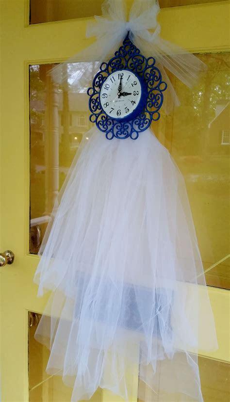 Around the clock bridal shower, bridal shower door decor