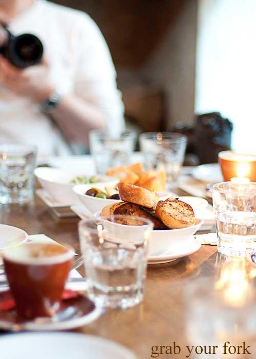 dining table garlic bread