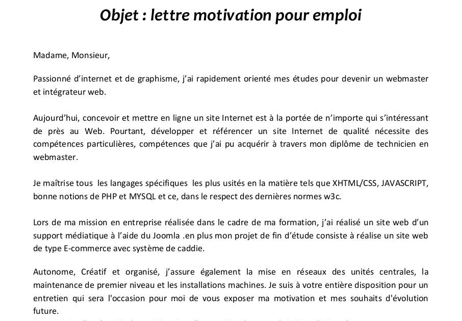 application letter sample  exemple de lettre de motivation webmaster