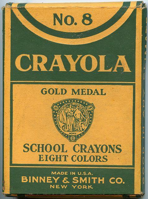 A very elegant, frill-free                   box of vintage Crayola crayons. #Crayola #crayons                   #vintage #stationery #office #school #supplies