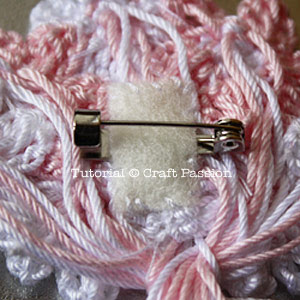 crochet flower brooch back