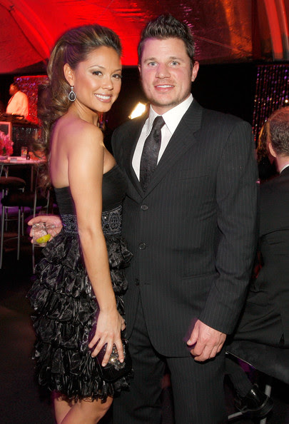 TV personality Nick Lachey (R) and Vanessa Minnillo attend NBC Universal and Focus Features' Golden Globes after party sponsored by Cartier at Beverly Hilton Hotel on January 17, 2010 in Beverly Hills, California.