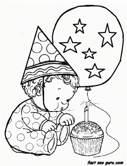 Free Printable litter baby birthday 1 coloring in sheet ...