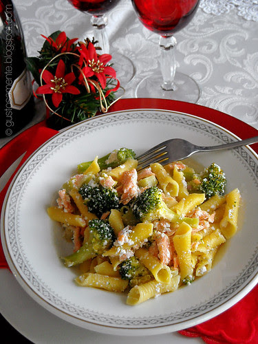 Garganelli con salmone, broccoli e ricotta