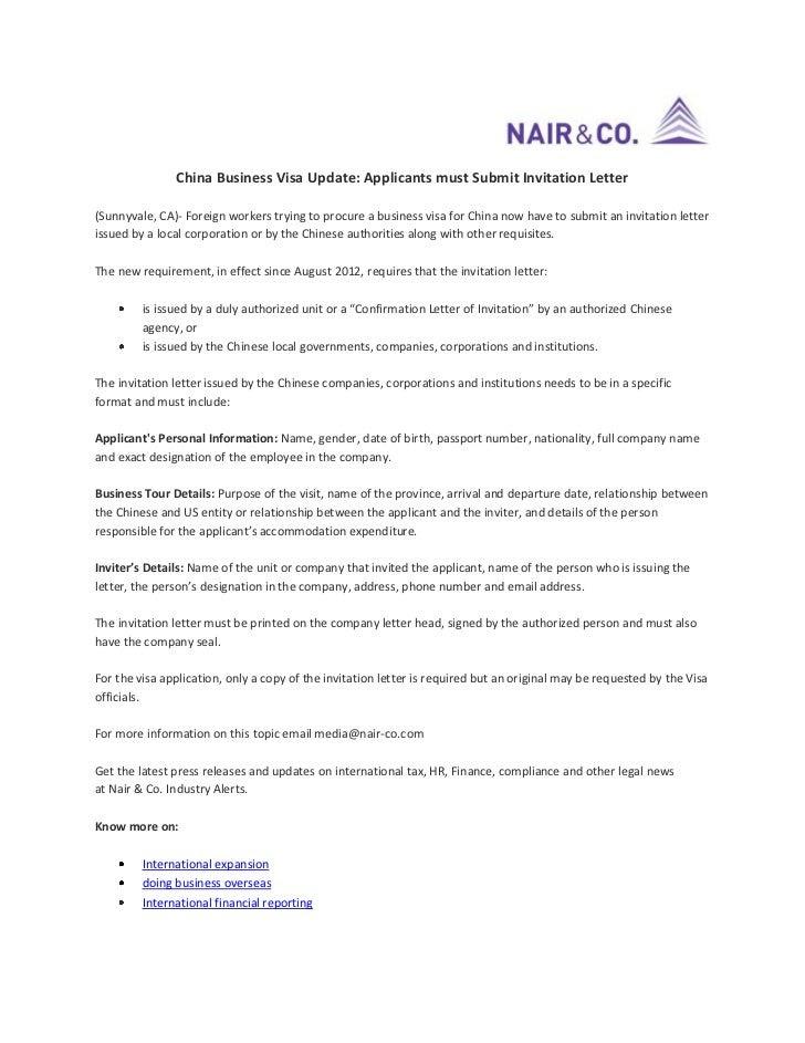 Business Visa Invitation Letter Template