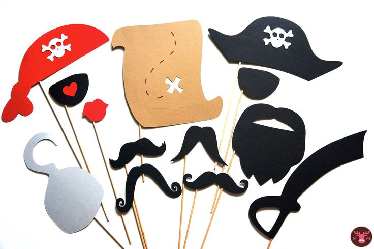 Pirate Photo Booth Props - 13 pieces on a stick - Birthdays, Weddings, Parties, Halloween - Great Photobooth Props