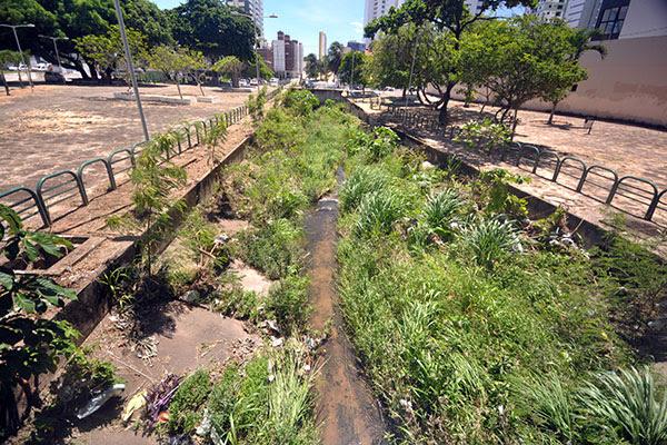 Riacho do Baldo recebe esgotos irregulares e carece de limpezas permanentes. Local está tomado pelo mato e estrutura tem rachaduras